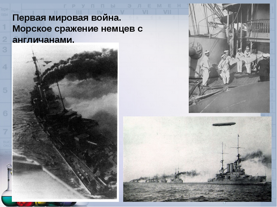 Первая мировая война. Морское сражение немцев с англичанами.