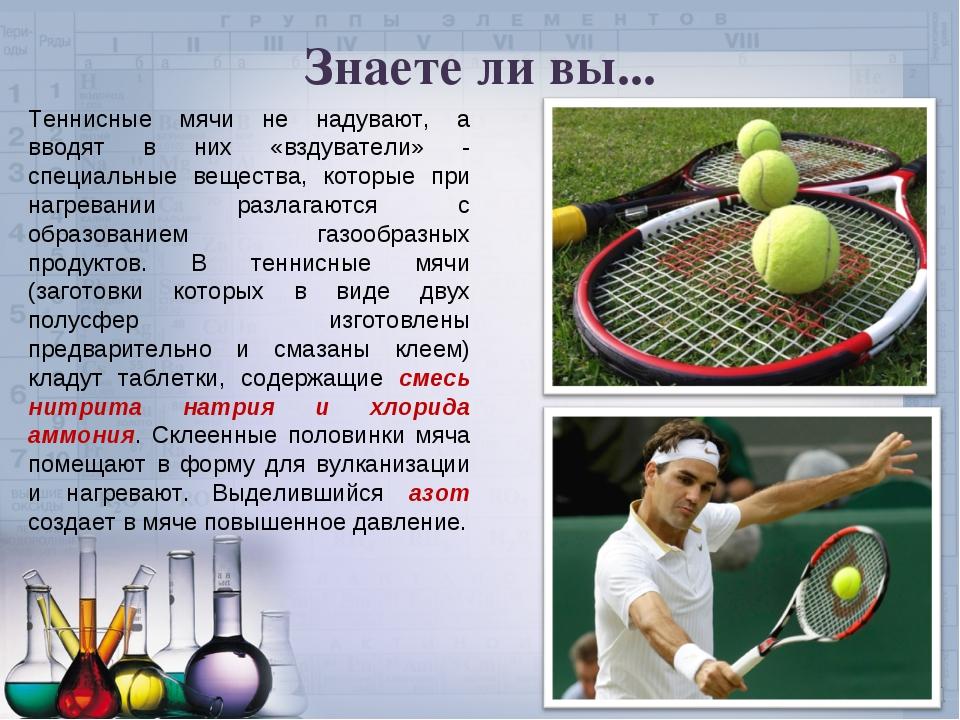 Знаете ли вы... Теннисные мячи не надувают, а вводят в них «вздуватели» - спе...
