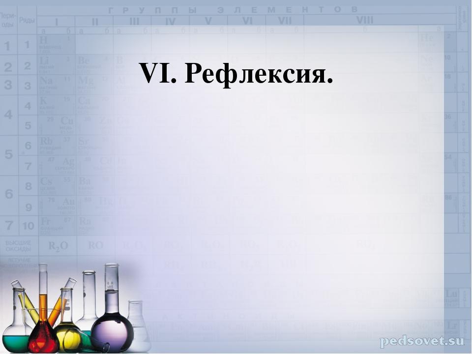 VI. Рефлексия.