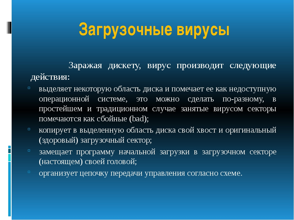 Загрузочные вирусы Заражая дискету, вирус производит следующие действия: выде...