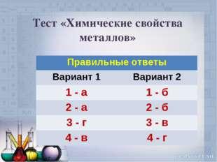 Тест «Химические свойства металлов» Правильные ответы Вариант 1Вариант 2 1