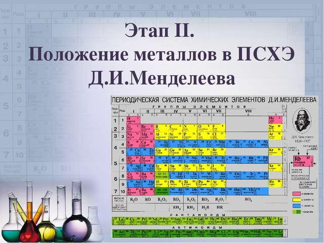 Этап II. Положение металлов в ПСХЭ Д.И.Менделеева