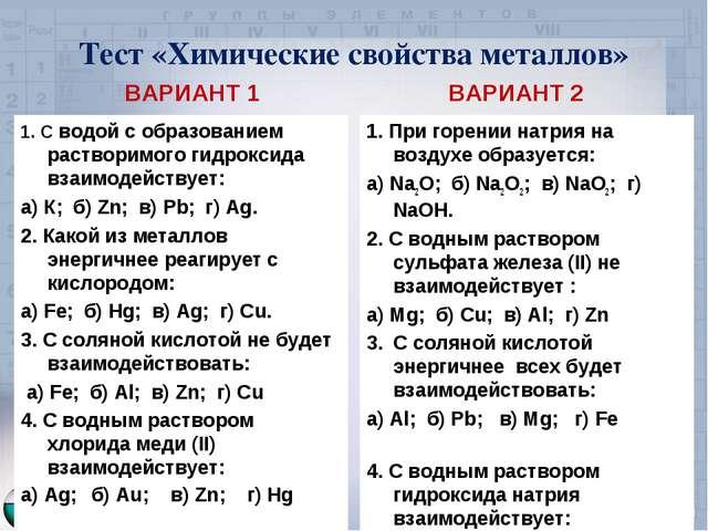 Тест «Химические свойства металлов» ВАРИАНТ 1 1. С водой с образованием раств...