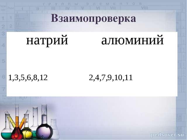 Взаимопроверка натрийалюминий 1,3,5,6,8,12 2,4,7,9,10,11