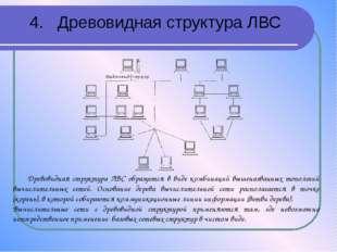 4. Древовидная структура ЛВС Древовидная структура ЛВС образуется в виде комб