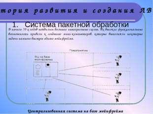 1. Система пакетной обработки Централизованная система на базе мэйнфрейма В н