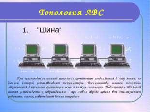 """Топология ЛВС 1. """"Шина"""" При использовании шинной топологии компьютеры соединя"""