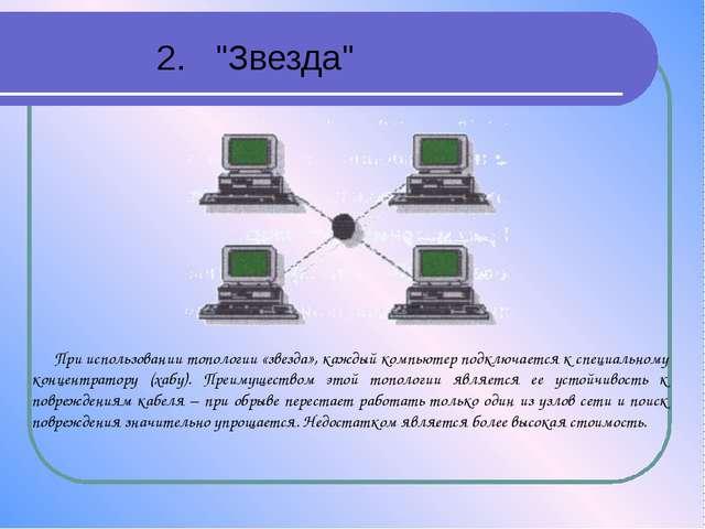 """2. """"Звезда"""" При использовании топологии «звезда», каждый компьютер подключает..."""