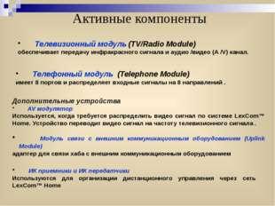 Активные компоненты Телевизионный модуль (TV/Radio Module) обеспечивает перед