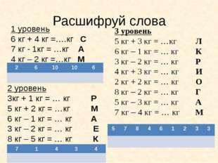 Расшифруй слова 1 уровень 6 кг + 4 кг =….кг С 7 кг - 1кг = …кг А 4 кг – 2 кг