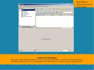 Главное окно программы Вы можете сами настроитьвид окна подсобственные треб