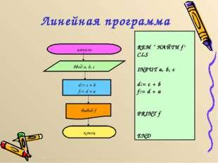 Линейная программа начало ввод a, b, c d:= c + b f:= d + a вывод f конец REM
