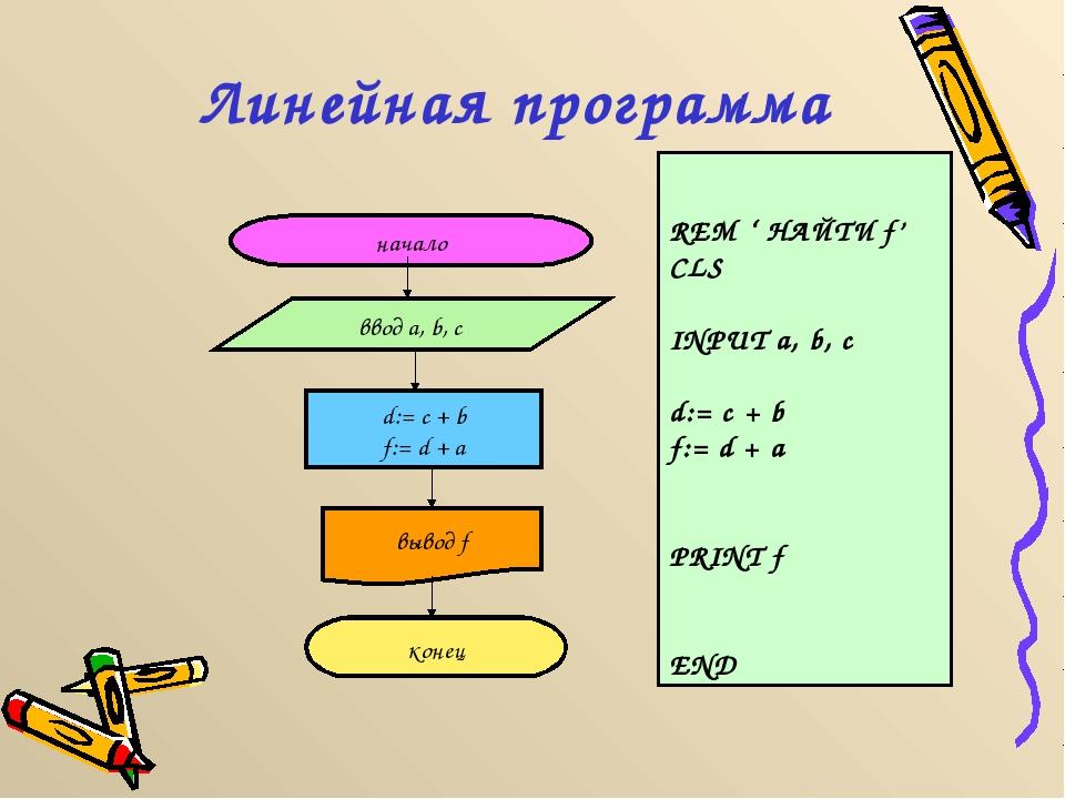 Линейная программа начало ввод a, b, c d:= c + b f:= d + a вывод f конец REM...