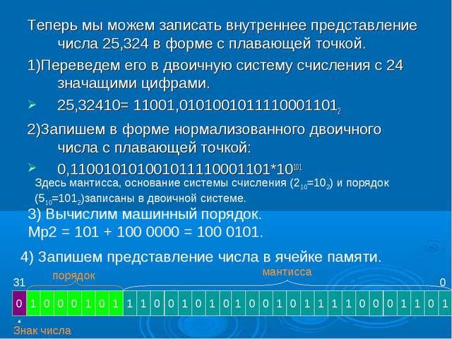 Теперь мы можем записать внутреннее представление числа 25,324 в форме с плав...