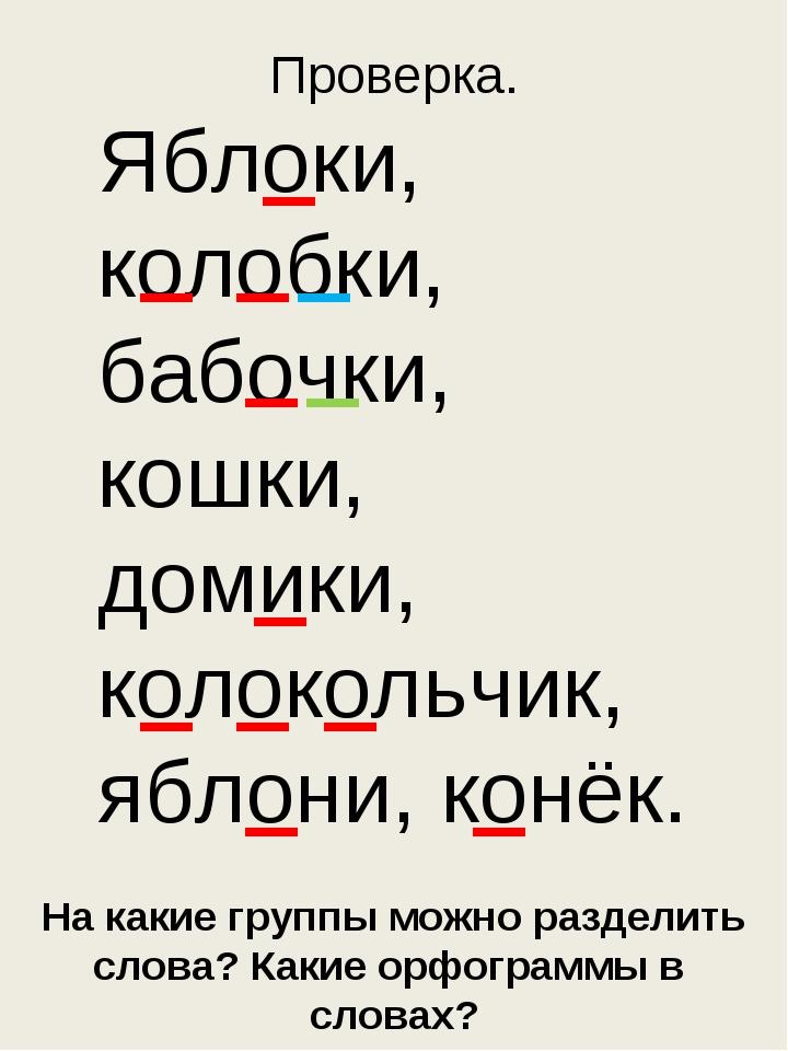 На какие группы можно разделить слова? Какие орфограммы в словах? Проверка. Я...