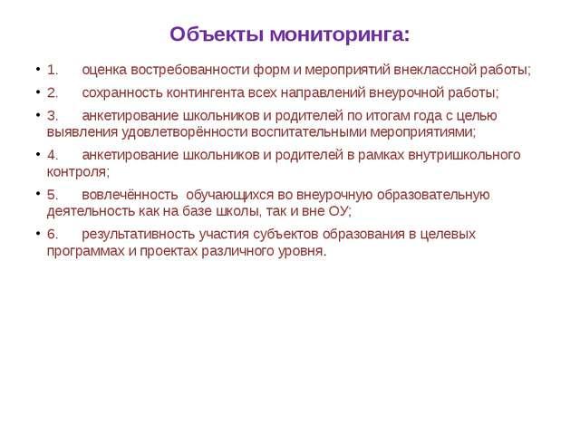 Объекты мониторинга: 1.оценка востребованности форм и мероприятий внекл...