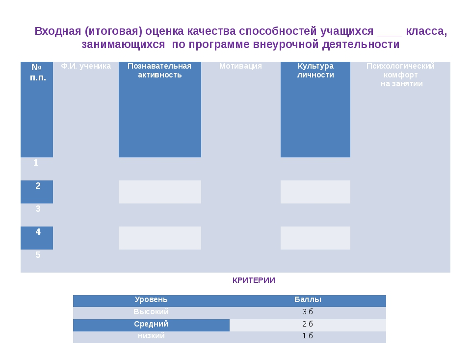 Входная (итоговая) оценка качества способностей учащихся ____ класса, занимаю...