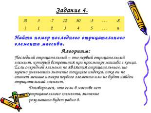 Задание 4. Найти номер последнего отрицательного элемента массива. Алгоритм: