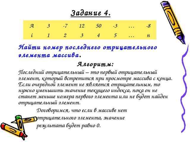 Задание 4. Найти номер последнего отрицательного элемента массива. Алгоритм:...
