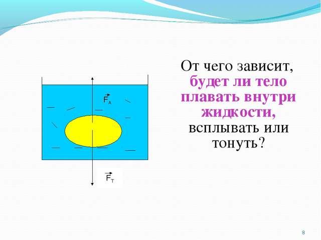 От чего зависит, будет ли тело плавать внутри жидкости, всплывать или тонуть...