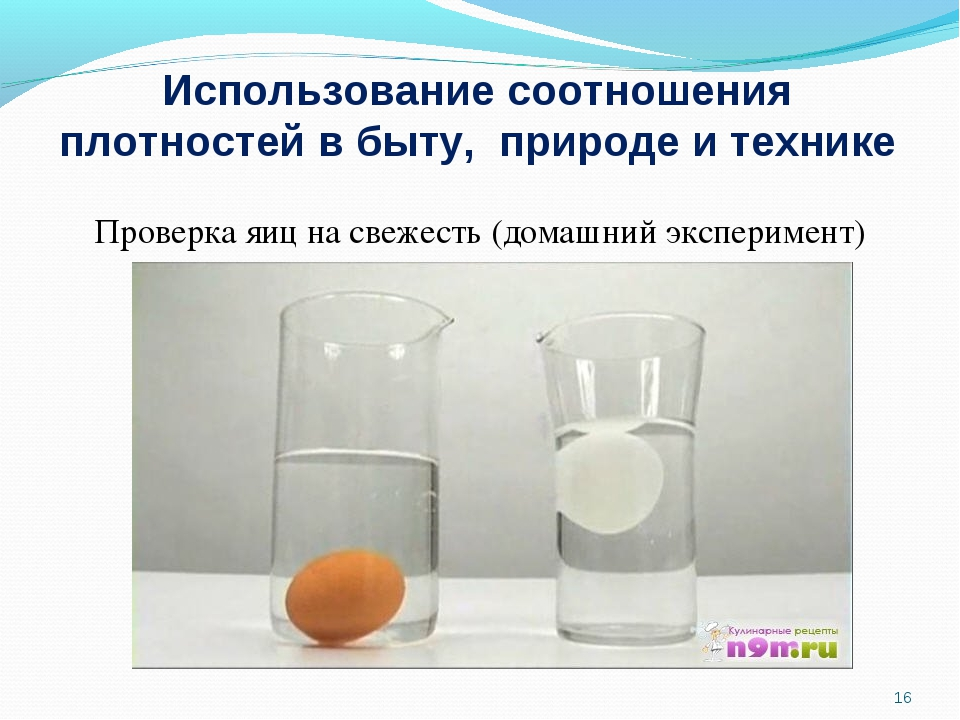 Использование соотношения плотностей в быту, природе и технике Проверка яиц н...