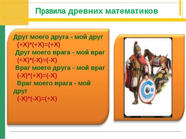 Правила древних математиков Друг моего друга - мой друг (+X)*(+X)=(+X) Друг...