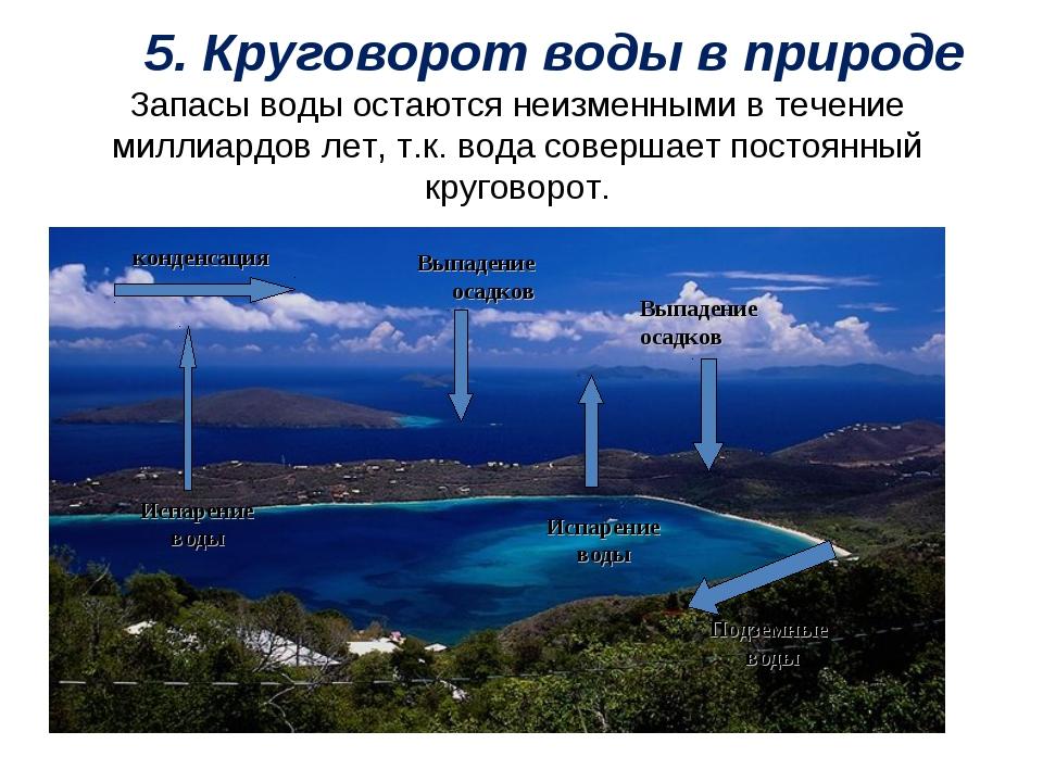 5. Круговорот воды в природе Запасы воды остаются неизменными в течение милл...