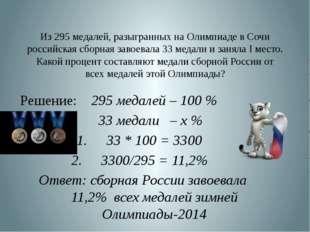 Из 295 медалей, разыгранных на Олимпиаде в Сочи российская сборная завоевала