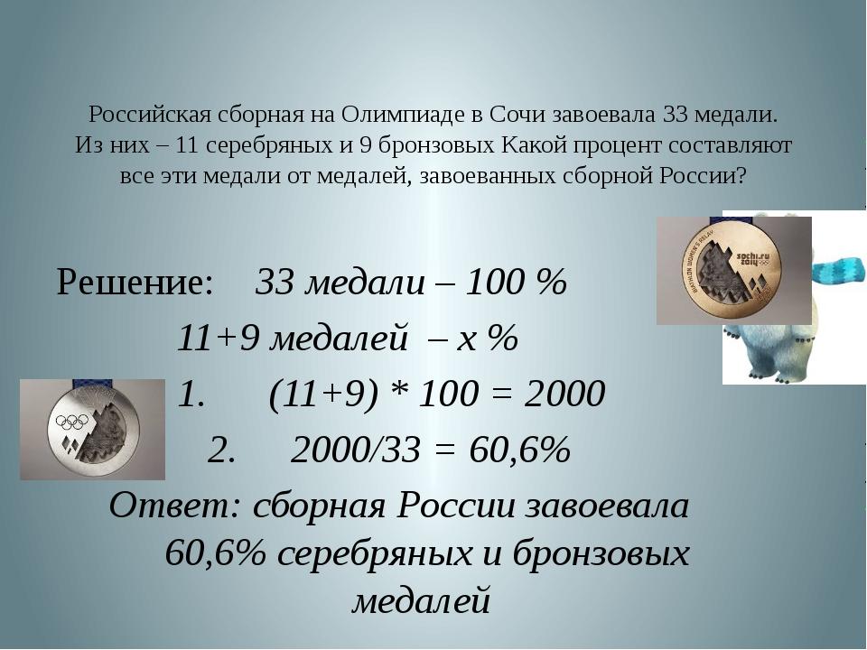 Российская сборная на Олимпиаде в Сочи завоевала 33 медали. Из них – 11 сереб...