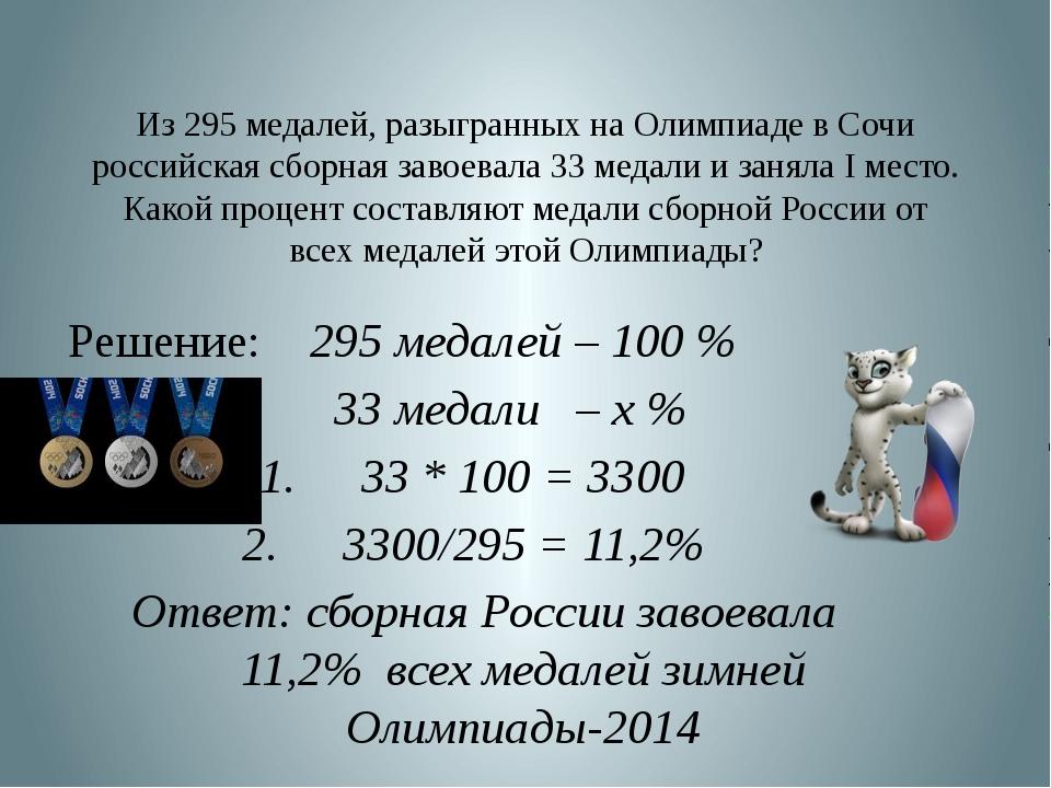 Из 295 медалей, разыгранных на Олимпиаде в Сочи российская сборная завоевала...
