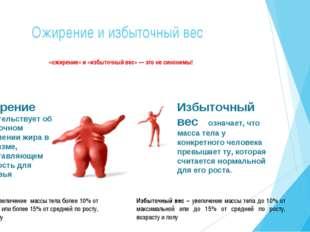 Ожирение и избыточный вес «ожирение» и «избыточный вес» — это не синонимы!