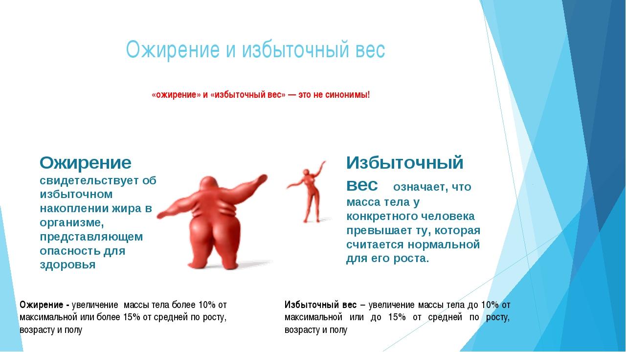 Ожирение и избыточный вес «ожирение» и «избыточный вес» — это не синонимы!...