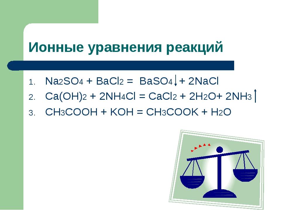 Ионные уравнения реакций Na2SO4 + BaCl2 = BaSO4 + 2NaCl Ca(OH)2 + 2NH4Cl = Ca...