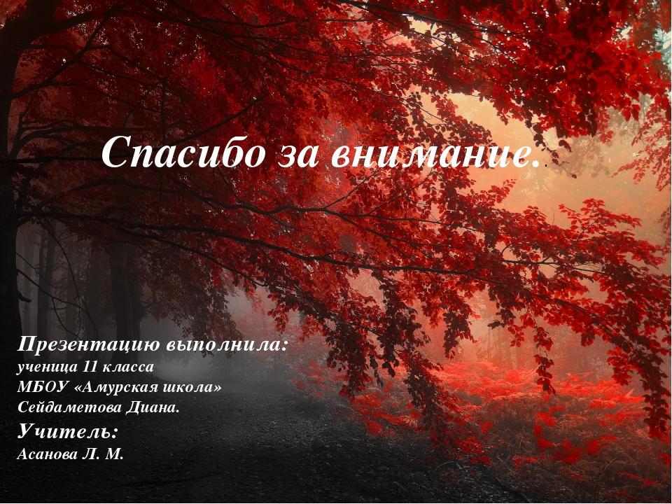 Спасибо за внимание.. Презентацию выполнила: ученица 11 класса МБОУ «Амурска...