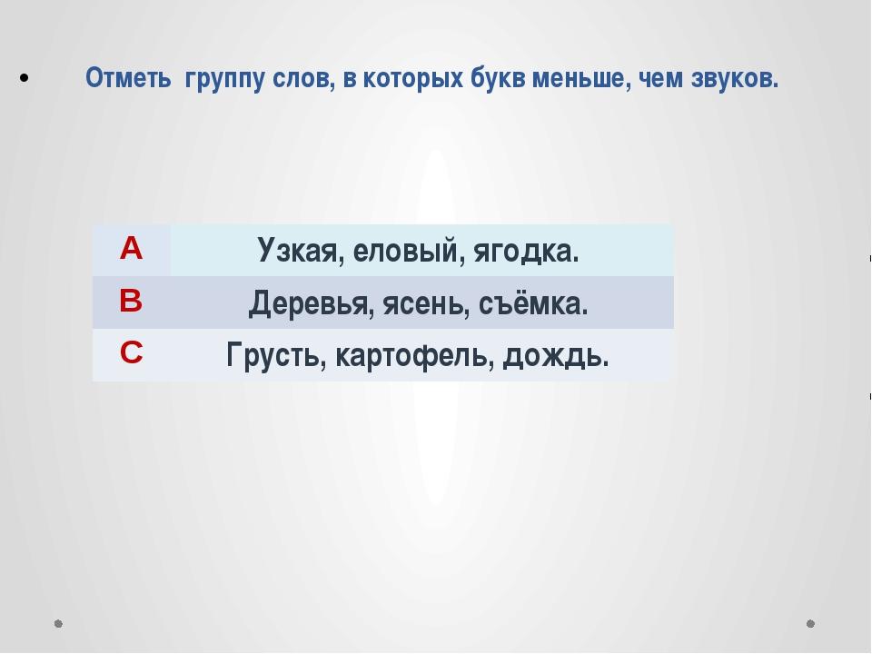 Отметь группу слов, в которых букв меньше, чем звуков. A Узкая, еловый, ягод...