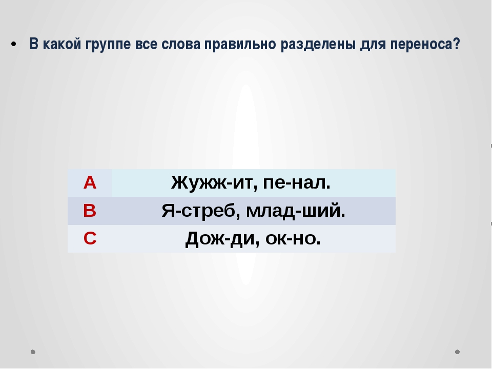 В какой группе все слова правильно разделены для переноса? A Жужж-ит,пе-нал....