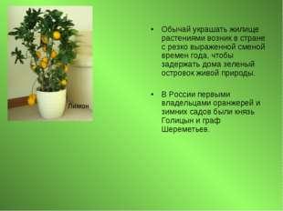 Обычай украшать жилище растениями возник в стране с резко выраженной сменой в