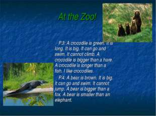 At the Zoo! P.3: A crocodile is green. It is long. It is big. It can go and s