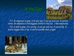 At the Zoo! P.7: An elephant is grey. It is very big. It can go and run. It c