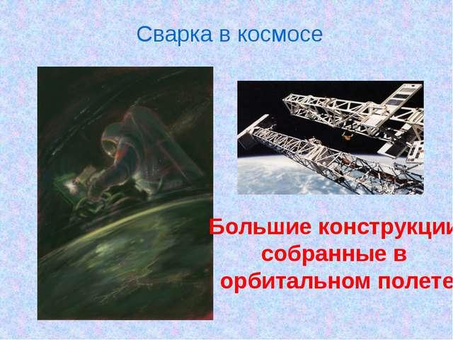 Сварка в космосе Большие конструкции, собранные в орбитальном полете