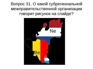 Вопрос 31. О какой субрегиональной межправительственной организации говорит р