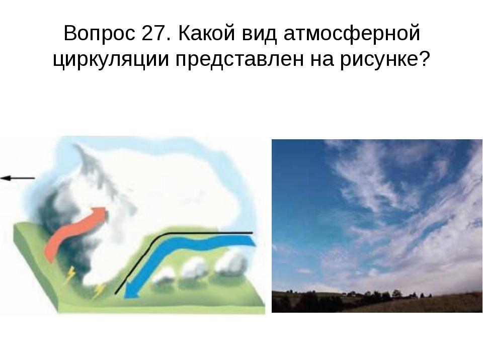 Вопрос 27. Какой вид атмосферной циркуляции представлен на рисунке?