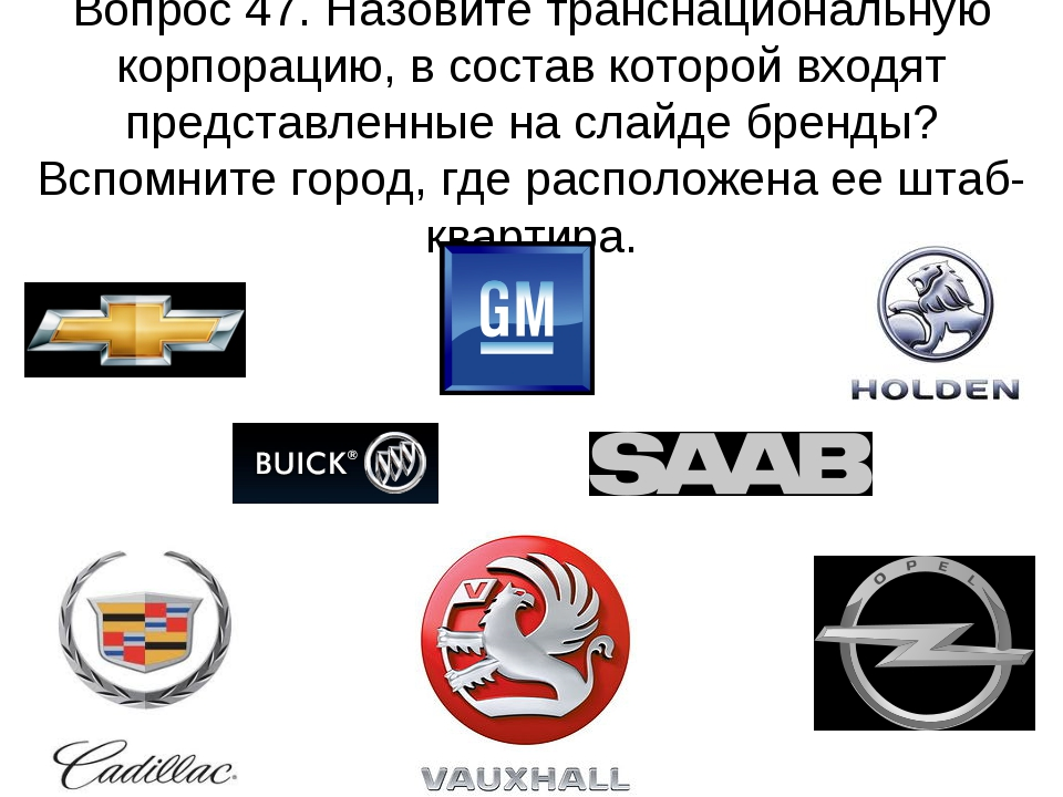 Вопрос 47. Назовите транснациональную корпорацию, в состав которой входят пре...
