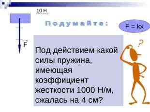 Под действием какой силы пружина, имеющая коэффициент жесткости 1000 Н/м, сж