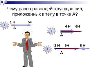 Чему равна равнодействующая сил, приложенных к телу в точке А? 1 Н 5Н А 4 Н 6