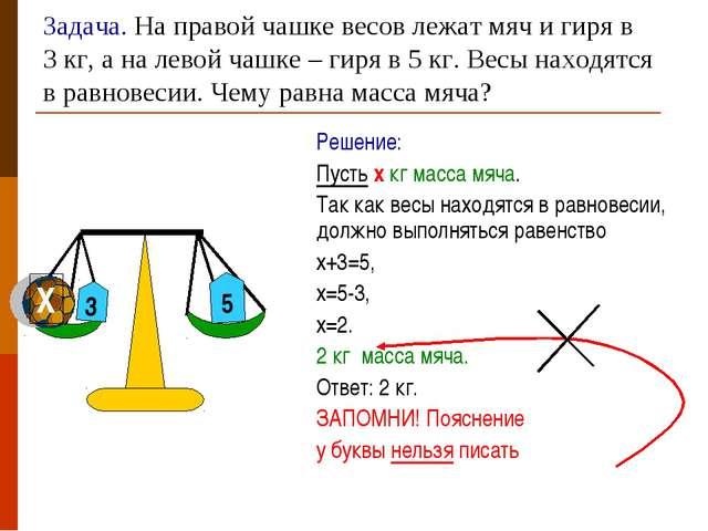 Задача. На правой чашке весов лежат мяч и гиря в 3 кг, а на левой чашке – гир...