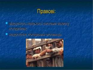 Правові: відсутність належної системи захисту потерпілих; недостатнє покаранн