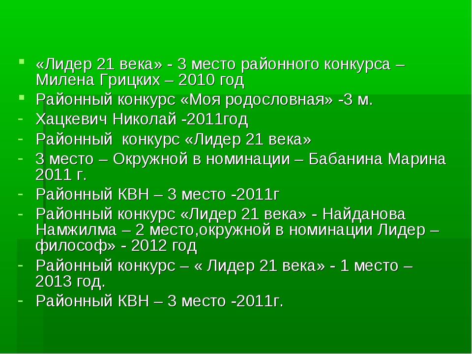 «Лидер 21 века» - 3 место районного конкурса – Милена Грицких – 2010 год Райо...