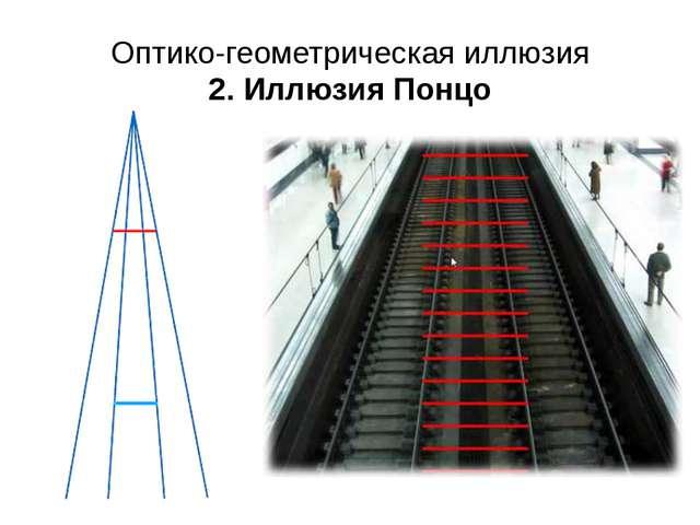 Оптико-геометрическая иллюзия 2. Иллюзия Понцо