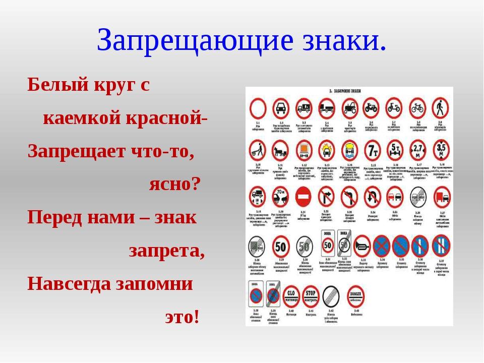 Запрещающие знаки. Белый круг с каемкой красной- Запрещает что-то, ясно? Пере...